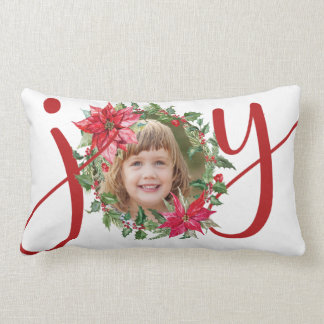JOY Christmas Wreath Personalized Lumbar Pillow