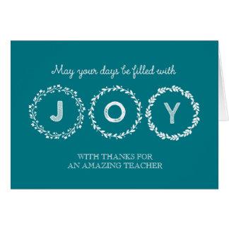 Joy Christmas Wreaths Teacher Holiday Card