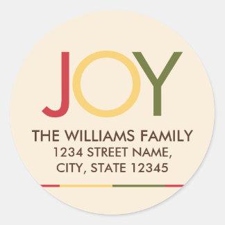 'JOY' Colorful Festive Christmas Return Address Classic Round Sticker