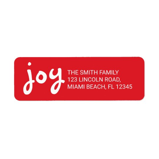 Joy | Cute and Fun Red Christmas Holidays Return Address Label