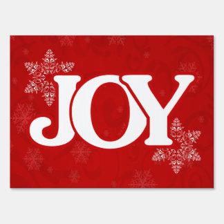 JOY Elegant Red Snowflake Pattern Christmas Sign