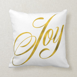 Joy Faux Gold Foil Christmas Script Lettering Text Throw Pillow