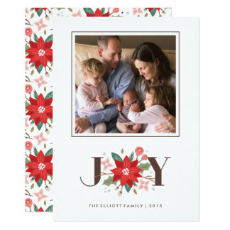 Joy Flourish Holiday Card - White