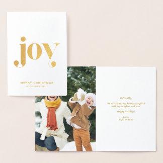 Joy Gold Foil Modern Typography Holiday Photo Foil Card