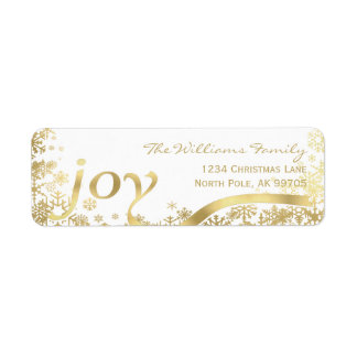 Joy Gold Snowflake Holiday Christmas Return Address Label