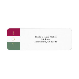 JOY Gold Sparkle Color block Holiday Invitation Return Address Label