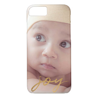 Joy Hand Lettered Gold Photo Elegant Holiday iPhone 8/7 Case
