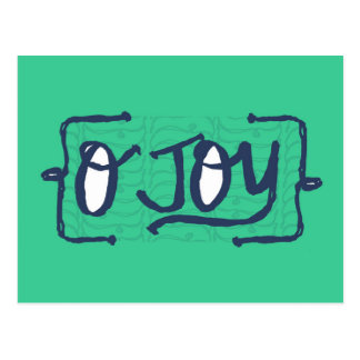 Joy hand lettered type in mint green postcard