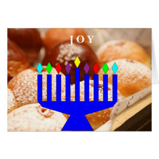 """Joy"" Hanukkah donuts and menorah holiday card"