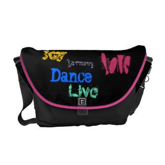 Joy Harmony Love Live Dance quotation black messen Messenger Bags