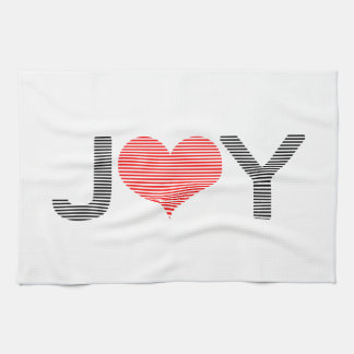 Joy - heart - black and red. kitchen towel