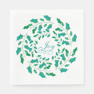 Joy Holly Wreath on White with Green and Blue Disposable Napkins