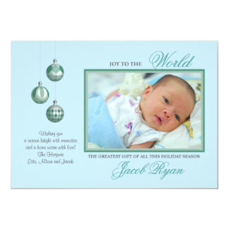 Joy in Blue Holiday Photo Card
