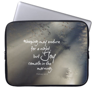 Joy in the Morning Bible Verse Laptop Sleeve