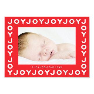 Joy Joy Joy Red Frame Holiday Christmas Photo Card