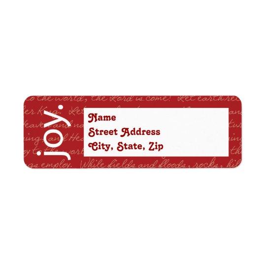 """Joy"" Label (No Photo) Return Address Label"