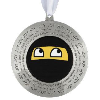 joy love and peace ninja emoji round pewter ornament