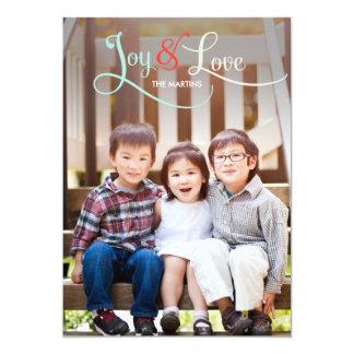 """Joy & Love Holiday Photo Cards 5"""" X 7"""" Invitation Card"""