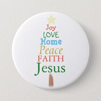 Joy, Love, Jesus, Christmas Tree Button