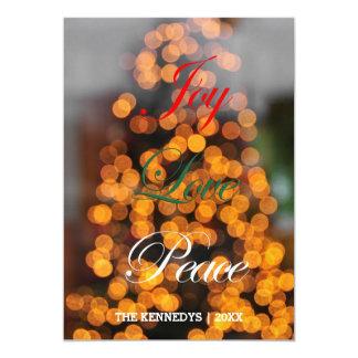 "Joy, Love, Peace - Abstract of lights on tree 5"" X 7"" Invitation Card"
