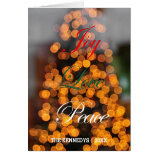 Joy, Love, Peace - Abstract of lights on tree Greeting Card