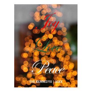 Joy, Love, Peace - Abstract of lights on tree Postcard