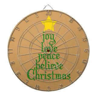 Joy, Love, Peace, Believe, Christmas Dartboard