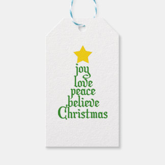 Joy, Love, Peace, Believe, Christmas Gift Tags