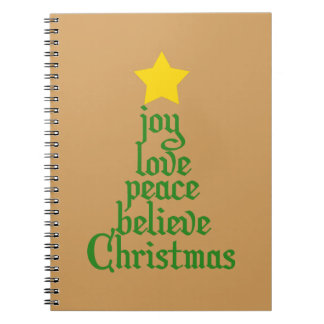Joy, Love, Peace, Believe, Christmas Notebooks