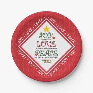 Joy Love Peace Christian Christmas Paper Plate