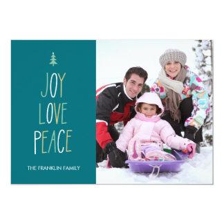 "Joy, Love & Peace Hand Lettered Holiday Photo Card 5"" X 7"" Invitation Card"