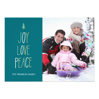 Joy Love Peace Hand Lettered Holiday Photo Card