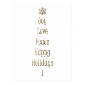 Joy Love Peace Happy Holidays Postcard