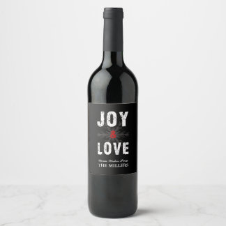 Joy & Love Script Christmas | Holiday Wine Label