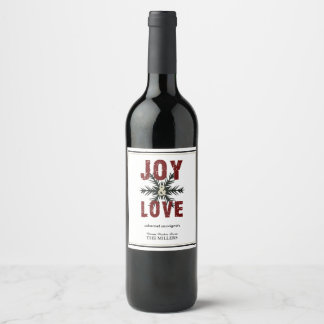 Joy & Love Script Red White Christmas Holiday Wine Label