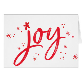JOY modern corporate holiday greeting red sparkles Card