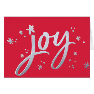 JOY modern corporate holiday red silver sparkles Card