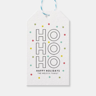 Joy Modern Typography Holiday Personalized Gift Tags