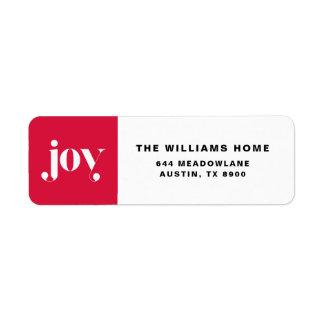 Joy Modern Typography Holiday Return Address Label