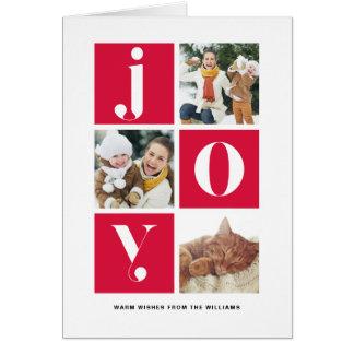 Joy Modern Typography Multi Photo Holiday Photo Card
