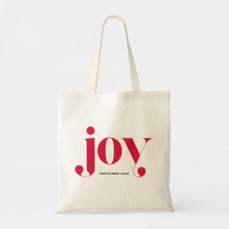 Joy Modern Typography Personalized Holiday Bag