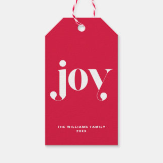Joy Modern Typography Personalized Holiday Gift Tags