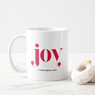 Joy Modern Typography Personalized Holiday Mug