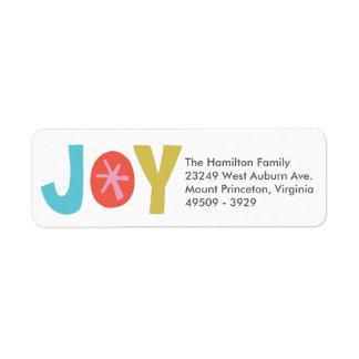 Joy Multi Colored Holiday Address Label