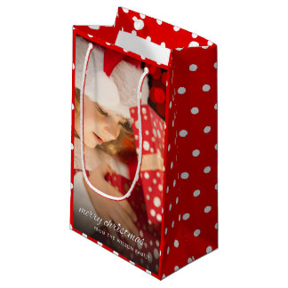 Joy of Christmas Presents Add Your Own Photo Small Gift Bag