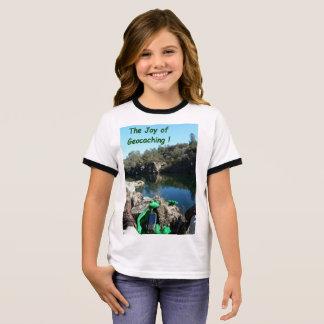 Joy of Geocaching T-shirt. Rocky river scene Ringer T-Shirt