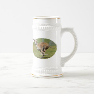 Joy of Running in Grass Oval Beer Stein