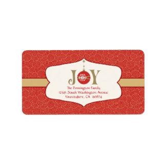 Joy ornament christmas customizable address label