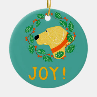 Joy Ornament With Yellow Lab-Stephen Huneck
