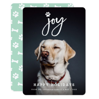 Joy Paw Print Brush Dog Lover Holiday Photo Card